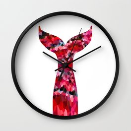 Mermaid Tail Ruby Red  Wall Clock