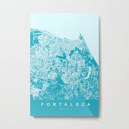 FORTALEZA City Map - Brasil | Aqua | More Colors, Review My Collections Metal Print