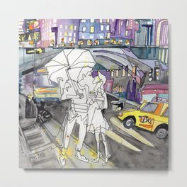 Kissing in New York City Metal Print