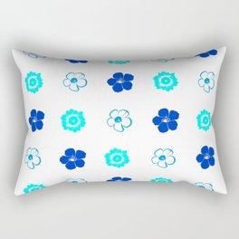 Blue Flower Pattern Rectangular Pillow
