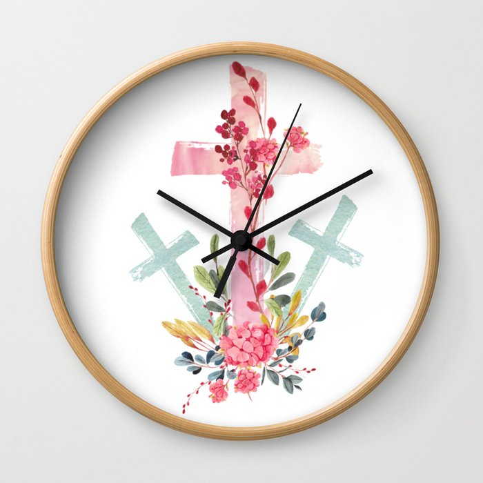 calvary floral Wall Clock