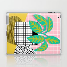 Get Real - potted plant throwback retro neon 1980s style art print minimal abstract grid lines shape Laptop & iPad Skin