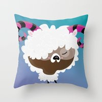 aries Throw Pillows featuring Aries by Maria Jose Da Luz