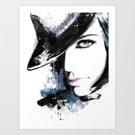Fashion Beauty, Fashion Painting, Fashion IIlustration, Vogue Portrait, Black and White, #15 Art Print