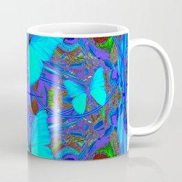 BLUE NEON BUTTERFLIES &  BLUE LINE PURPLE DRAWING Coffee Mug