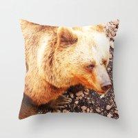 bruno mars Throw Pillows featuring BRUNO by Ylenia Pizzetti