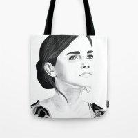 emma watson Tote Bags featuring Emma Watson by Moira Sweeney