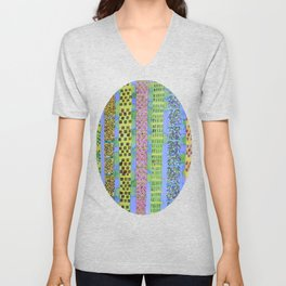 Blue Vertical Stripes and Ornaments  Unisex V-Neck