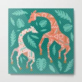 Pink Dancing Giraffes on Teal Green Metal Print