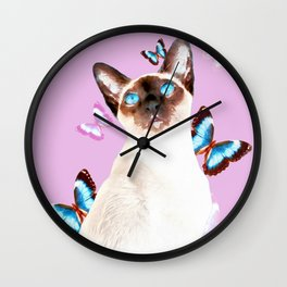 Siamese Butterfly Pink Wall Clock