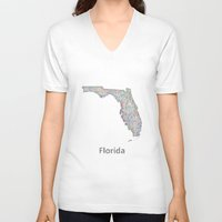 florida V-neck T-shirts featuring Florida map by David Zydd