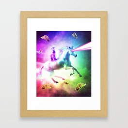 Space Cat Riding Unicorn - Laser, Tacos And Rainbow Framed Art Print