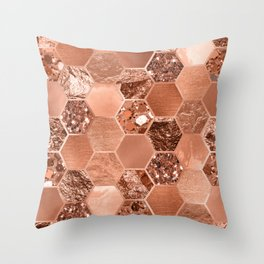 Rose gold hexaglam blonde Throw Pillow