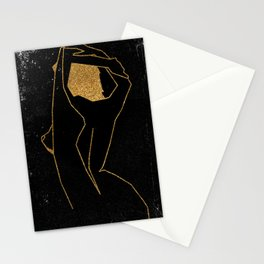 Gold Glitter Nude in One Line Stationery Cards