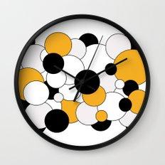 Bubbles - orange, black, gray and white Wall Clock
