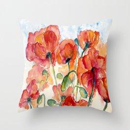 Tangerine Orange Poppy field WaterColor by CheyAnne Sexton Throw Pillow