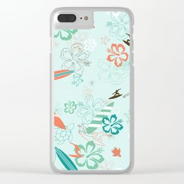 Surfs Up Blue Clear iPhone Case