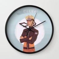 kakashi Wall Clocks featuring Dattebayo! by Gianbe