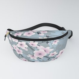Dusky Pink Grayish Blue Cherry Blossom Fanny Pack