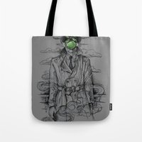 magritte Tote Bags featuring Magritte Noir by Peter Kramar