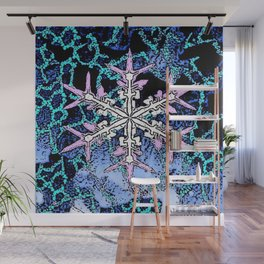 GRAPHIC WINTER SNOWFLAKE PEN & INK DRAWING Wall Mural