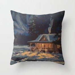 Blue Aurora Nights Throw Pillow