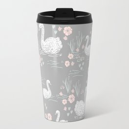 Swans painting cute girly trend cell phone case with swans pattern florals hand painted Travel Mug