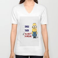 minion V-neck T-shirts featuring Minion by rosita