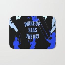 Wake Up Seas The Day Kiteboarder Royal Blue Bath Mat