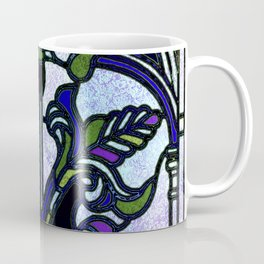 Blue and Green Glowing Art Nouveau Stain Glass Design Coffee Mug