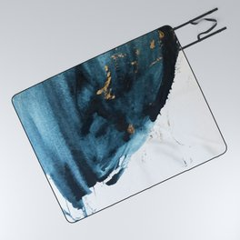 Sapphire and Gold Abstract Picnic Blanket