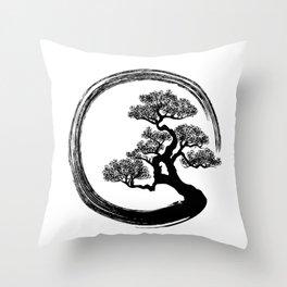 Enso Zen Circle and Bonsai Tree Throw Pillow