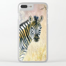 Zebra in Rainbow Savanna Clear iPhone Case
