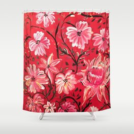 Red Floral Acrylic Painting Shower Curtain