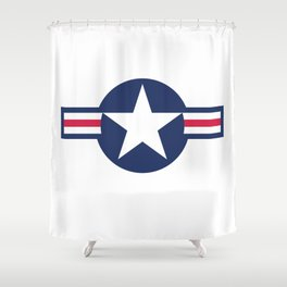 US Airforce style roundel star - High Quality image Shower Curtain