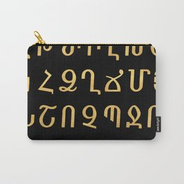 ARMENIAN ALPHABET - Black and Gold Carry-All Pouch