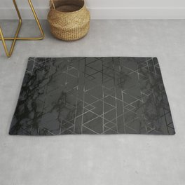 Silver Platinum Geometric Black Mable Triangle Pattern Rug