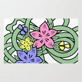 Abstract flowers corner Rug
