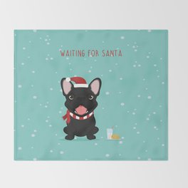 French Bulldog Waiting for Santa - Black / Brindle Edition Throw Blanket