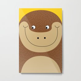 Cute, colorful illustration - Monkey Love Metal Print