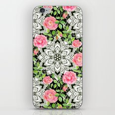 Peach Pink Roses and Mandalas on Black and White Lace iPhone & iPod Skin