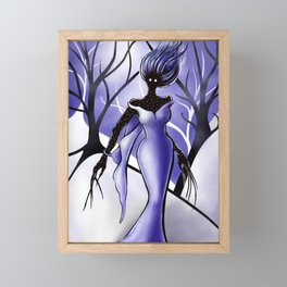 Creepy Woman In Snowy Night Forest Framed Mini Art Print