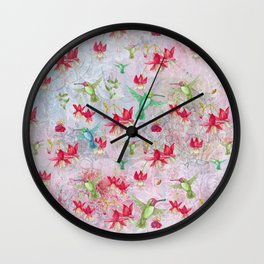Vintage Watercolor hummingbird and Fuchsia Flowers on pink Background Wall Clock