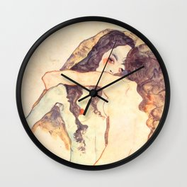 "Egon Schiele ""Two women embracing"" Wall Clock"