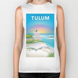 Tulum, Mexico - Skyline Illustration by Loose Petals Biker Tank
