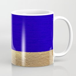 Color Blocked Gold & Cerulean Coffee Mug