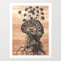 brain Art Prints featuring Brain by Kapena Ornellas