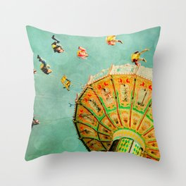 You Spin Me Right Round Carnival Swing Throw Pillow
