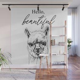 Hello, Beautiful Alpaca Sketch Wall Mural
