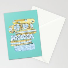 Golden Rings on Blue Stationery Cards
